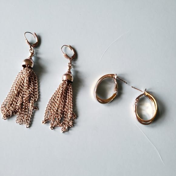 2 pairs of Earrings!!  One tassle and one hoops!